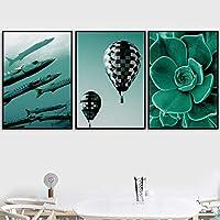 絵画 アート 緑の植物海の魚の壁アートキャンバス絵画北欧のポスターとプリント壁用リビングルーム50x71cmx3フレームなし
