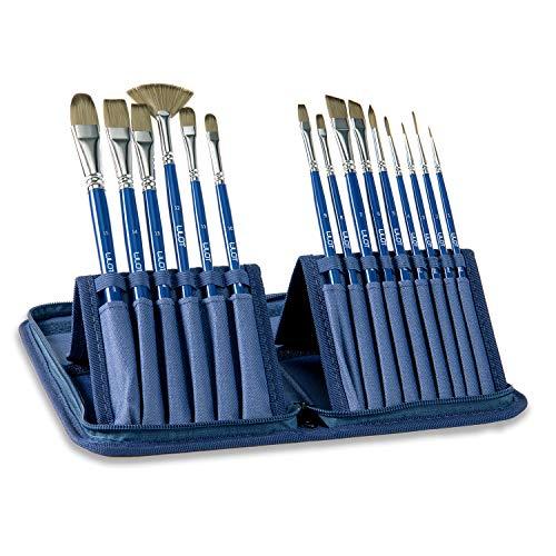 Juegos de pinceles de 15 piezas, pincel de artista, cabello de nylon, mango azul con una cubierta de lienzo ideal para acuarela, óleo, pintura acrílica