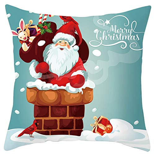 HAHALUPeach Skin Velvet Cushion Cover Santa Claus Cartoon Print Throw Pillow Cases Festival Party Decoration 45cm x 45cm Square Pillow Covers for Sofa Bedroom Garden