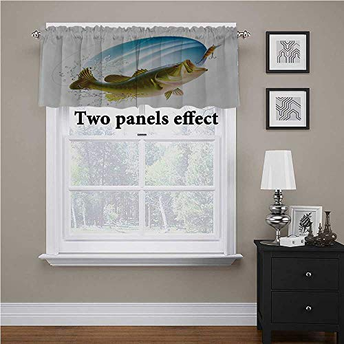 "Interestlee Fishing Textured Kitchen Curtain Valance Largemouth Sea Bass Catching a Bite in Water Spray Motion Splashing Wild Image for Living Room Bedroom Green Blue, 54"" x 12"""