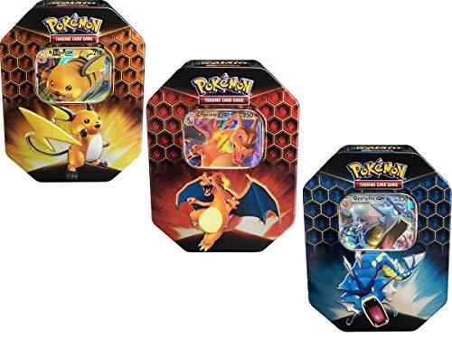 Pokemon Hidden Fates Set of 3 Tins- Charizard GX , Gyarados GX , and Raichu GX