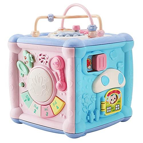 Caja de juegos multifunción juguete con teléfono tambor música luz para niños pequeños educativos, 23x23x23cm
