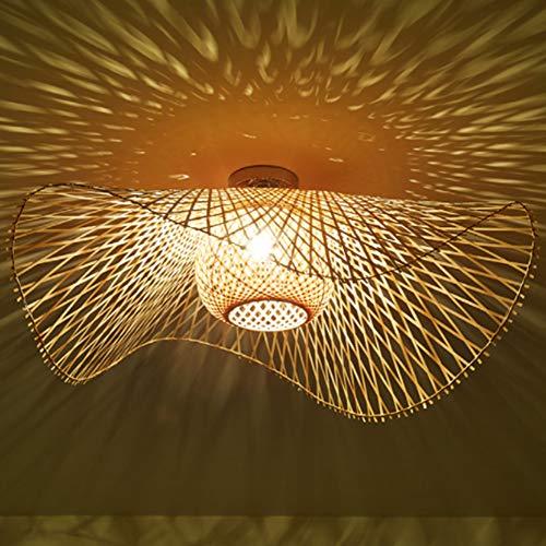 Natürliche Deckenlampe Aus Bambus Und Rattan Landbeleuchtung Deckenleuchte E27 Retro Deckenlicht Handgewebte Korridorlampe Schlafzimmer Restaurant Dekoration Lampe Energiesparlampe,48cm