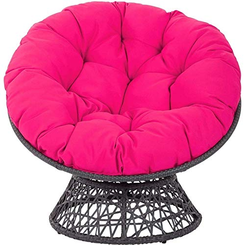 ldl Swing Hanging Basket Seat Cushion, Sink Into Our Thick Comfortable and Oversized Papasan, Round Overstuffed Chair Cushions Diameter 105cm (41inch) (Color : Rose Red)