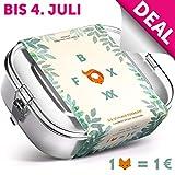 FOXBOXX® Brotdose Edelstahl Premium | Auslaufsicher mit 3 Fächer - plastikfrei nachhaltig | Lunch-Box Brot-Box Vesper-dose Brotbüchse Brotzeit-Box Bento | Groß | XL 1400ml