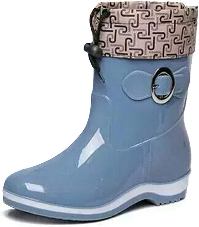 Wallhewb Women's Rubber Ankle Rain Boots Casual Platform shoes Female Warm Flats Bright color Big Size shoes Girl Girl Leg Length Sexy Fashion Leg Length Elegant Reasing Beige 6 M US shoes