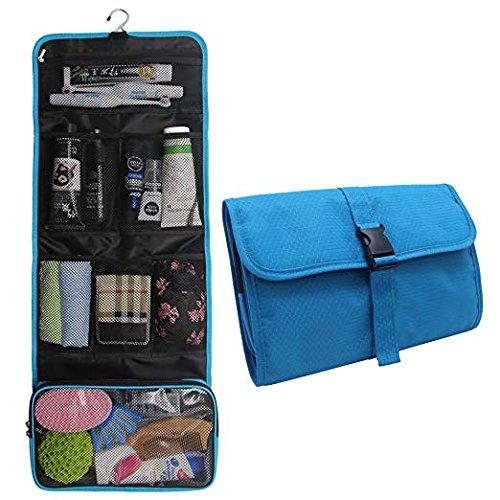 Travel Hanging Toiletry Bag Travel Kit Organizer Cosmetic Makeup Waterproof Wash Bag for Women Girls Travel Case for Bathroom Shower (Blue)