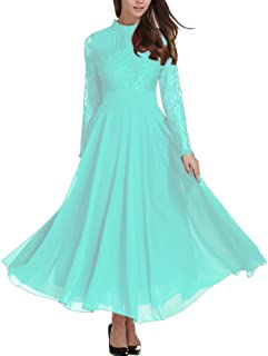 Women's Long Sleeve Chiffon Maxi Dresses Casual Floral Lace Evening Cocktail Party Long Dress