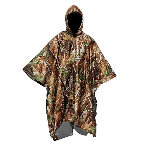 JUQIAO 1 pieza de poncho con capucha capa 3 en 1 portátil senderismo camping impermeable poncho toldo al aire libre lluvia equipo suministros