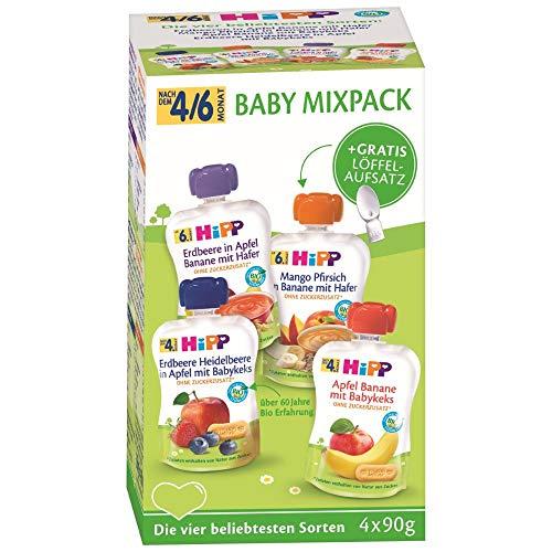 Hipp Bio Frucht & Getreide im Quetschbeutel für Baby, Mixpack HiPP Babyquetschbeutel, 360 g