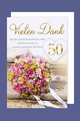 AvanCarte 50 Goldhochzeit Danksagung 5er Mehrstückpackung Blumenstrauß 5 Karten 15x11cm