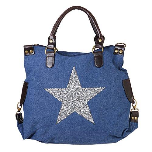 FASHION YOU WANT Damen Henkeltasche Stars mit Sternen aus Glitzersteinen (Blau)