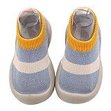 scarpe primi passi bambino scarpe da ginnastica neonata sneaker antiscivolo bimbo (blu e giallo, 6-12 mesi)