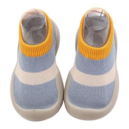 Scarpe Primi Passi Bambino Scarpe da Ginnastica Neonata Sneaker Antiscivolo Bimbo (Blu e Giallo, 12-18 Mesi)