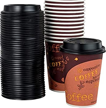 Restaurant Grade 12 Oz Paper Coffee Cups With Recyclable Dome Lids 100 Pack By Avant Grub Durable BPA Free Disposable Designer Cups For Hot Drinks At Kiosks Shops Cafes and Concession Stands