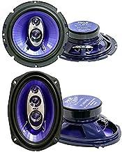 "Pyle PL63BL 6.5"" 360W 3-Way Car Coaxial Speakers Audio Stereo, Blue (Pair) and PL6984BL 6x9"" 400W 4-Way Car Coaxial Speake... photo"