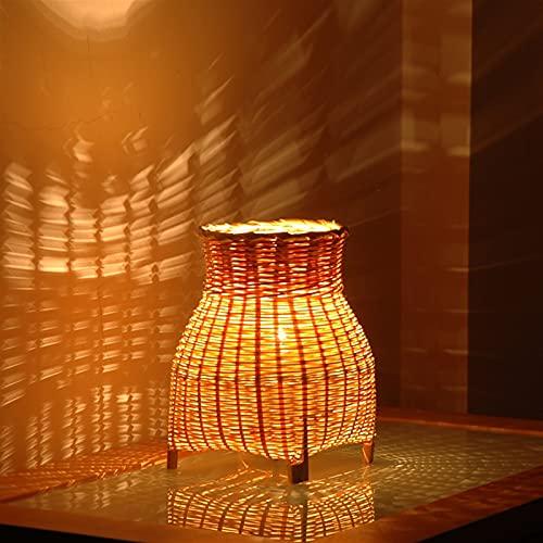 JSJJATQ Lámpara de Mesa Bambú Tejido jardín Sala de Estar Noche de sueño Noche luz Creativa energía Ahorro pequeña Mesa lámpara Minimalism