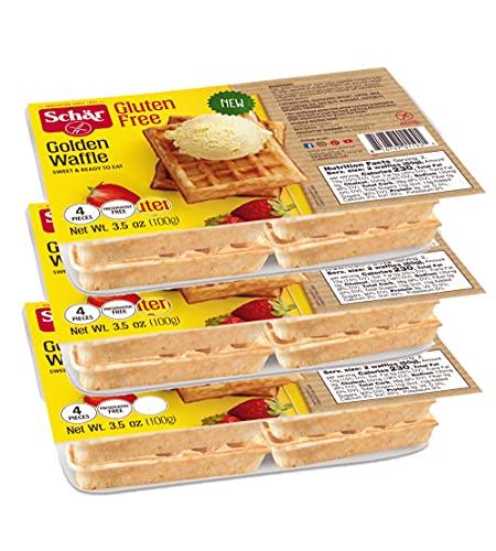 Schar Gluten Free Golden Waffles 4-Pack | 3 Count (12 Waffles Total)