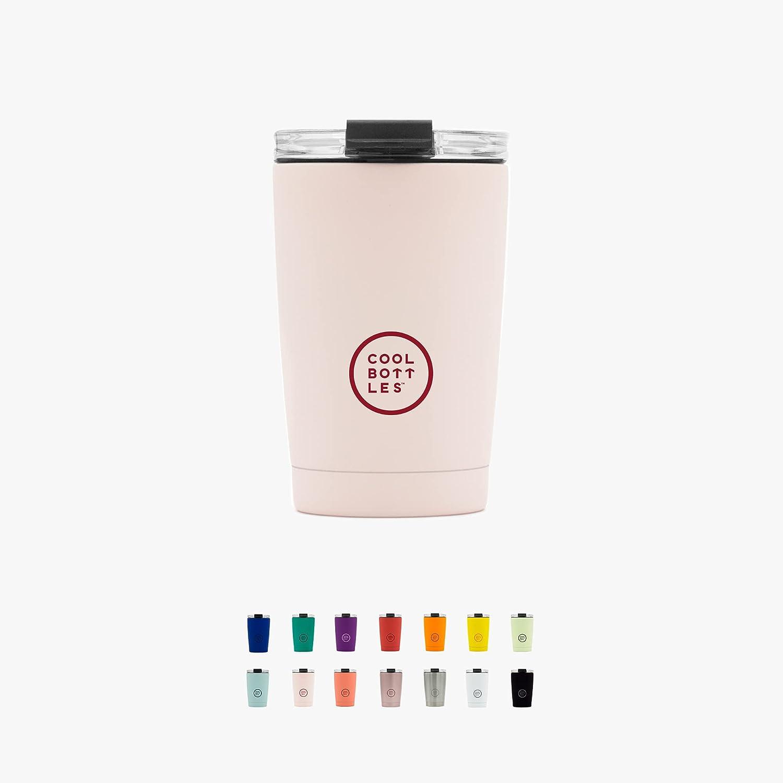 Cool Bottles - Vaso Térmico de Acero Inoxidable 330 ml - Pastel Pink - Tapa Hermética - Vaso para Café - Bebidas Frías 16 Horas y Calientes 8 Horas - Libre de BPA