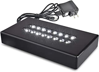 Santa Cruz Lights Large Black Lacquer Double Line 16 LED White Light Stand Base for Crystals, Glass Art