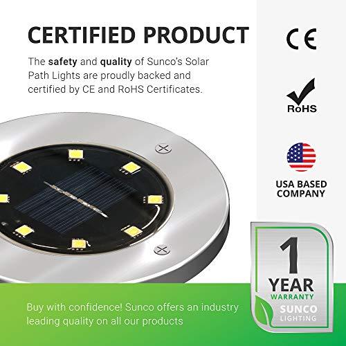 Sunco Lighting 12 Pack Solar Path Lights, Dusk-to-Dawn, 5000K Daylight, Cross Spike Stake for Easy in Ground Install, Solar Powered LED Landscape Lighting - RoHS/CE