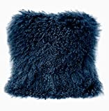 Gentle Nature 100% Real Mongolian Lamb Fur Curly Wool Pillow Cushion,Home Decorative Sheepskin Throw Pillow with Insert Included,16x16in,Blue