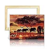 decalmile Pintura por Número de Kits DIY Pintura al óleo para Adultos Bosque Familia Elefante 16'X 20' (40 x 50 cm, con Marco de Madera)