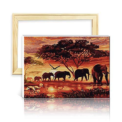 decalmile Pintura por Número de Kits DIY Pintura al óleo para Adultos Niños Bosque Familia Elefante 16
