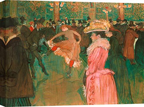 Art Print Cafe – Art Print op Canvas – Moderne kunst schilderij – Henri Toulouse-Lautrec, Aan de Moulin Rouge: De Dans 70x50