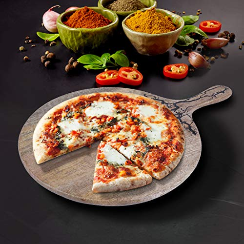 Wooden Round Large Pizza Cutting/Serving Board - 100% Natural Acacia Wood - Scratch Resistant & Water Resistant Properties - Pizza Peel/Cutting Board & Serving Tray with Handle - 17'x 12'