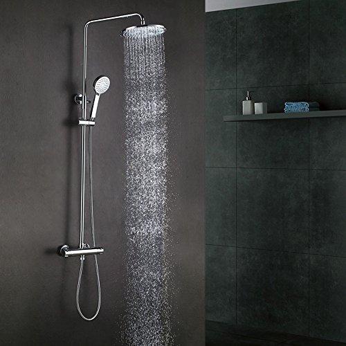 KES Bathroom European Thermostatic Shower System 10' Rainfall Shower Head Adjustable Shower Bar Wall...