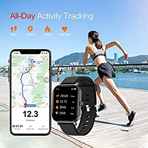 Smart Watch, Waterproof Sport Watches 1.69 Full Touch Screen Fitness Tracker with Heart Rate Monitor, Sleep Tracker, Stopwatch, Bluetooth Smartwatch 24 Sports Modes for Android and iOS