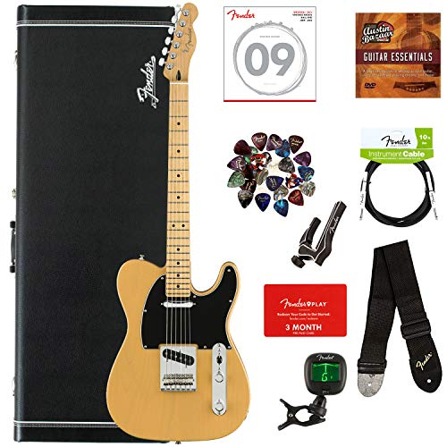 Fender Player Telecaster Bundle with Hardshell Case, Tuner, Strap, Instrument Cable, Strings, Picks, Capo, Fender Play Trial, and Austin Bazaar Guitar Essentials DVD - Butterscotch Blonde