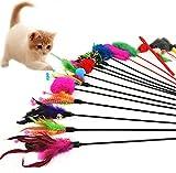 Joybuy - Juego de 4 Varillas de Juguete interactivas para Gatos, con Campana, Color al Azar