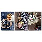 WSKKK Lienzo Arte Fruta Pastel Alimentos Carteles Yogur Batido Cuenco Imprimir Cocina Decoración del hogar Cuadros de la Pared Decoración del Comedor 50x70cmx3 Sin Marco