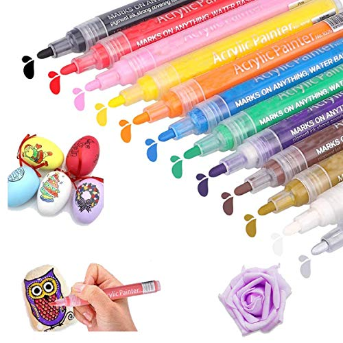Acrylic Paint Pens,AKOPUGA Paint Marker Pen 12 Colors,Water based, Medium Point, Odorless,Acid Free,Non-Toxic for Rock Painting, Wood, Glass, Metal, Mugs,Ceramic and Non porous Surfaces