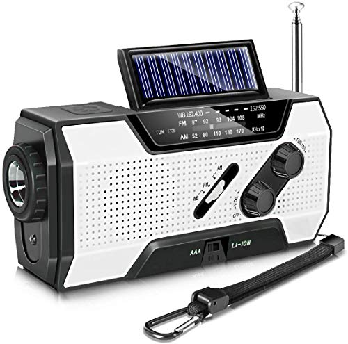 Emergency Radio, Solar Hand Crank AM/FM/NOAA Weather Radio for Household and Outdoor Emergency, with LED Flashlight, Reading Lamp, 2000mAh Power Bank USB Charger and SOS Alarm White
