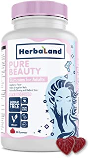 Vegan Pure Beauty Supplement by Herbaland - Plant-Based Sugar-Free Vitamin Gummies for Hair Skin and Nails with Biotin Fol...