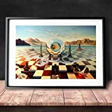 Surreal City Chess Beach Set Wall Art Canvas Painting Poster Prints Pictures For Living Room Decoration Home Oil Paintings Decor 40x60CM SIN marco
