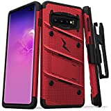 ZIZO Bolt Series Galaxy S10 Plus Case Military Grade Drop Tested with Built in Kickstand Holster Red Black