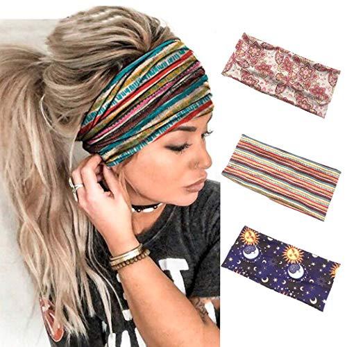 Sethain Vintage Stirnband Breites Haarband Elastisches Bandeau Streifen Bandana drucken Dehnbar Yoga Kopfbedeckung Für Frauen und Mädchen (3er Pack)