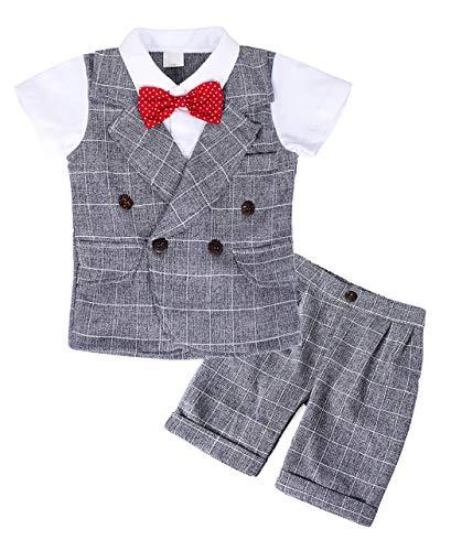 AmzBarley Gentleman Abiti Bambini Formale Camicia Pantaloni Giubbotto Cravatta Set di Vestiti Bimbo Ragazzi per Festa Compleanno Cerimonia Vacanza