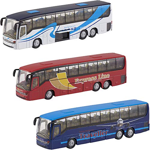 Teamsterz Juego de 3 autobuses de metal fundido a troquel