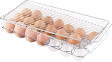 iDesign Plastic Egg Holder for Refrigerator with Handle and Lid, Fridge Storage Organizer for Kitchen, Holds up to 21 Eggs, Clear