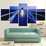 5 piezas de lienzo Cuadro compuesto por 5 lienzos impresos en HD, utilizados para decoración del hogar y carteles Torre de vigilancia con marco 100x55cm