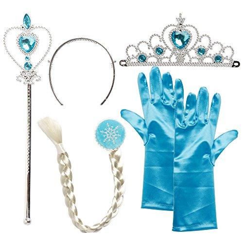 Katara - Deluxe Set Principessa Elsa Frozen Regina del Ghiaccio Corona Guanti Bacchetta magica Treccia, Bambina 2-9 anni