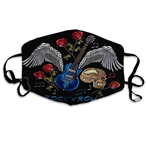 Mund Scraf Gesichtsbedeckung Anit Dust Shield Rock N Roll Rock Musik Schädel Gitarre Flügel Rosen Klassische Musik Kunst