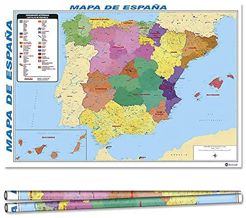 Posters del Mapa de España Educativo Pósteres de Decoración Educativa para niños Gráficos de Pared Coloridos y para Colgar