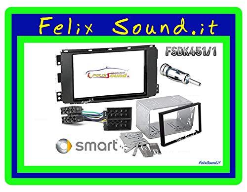 Kit Montaggio Autoradio, Mascherina 2 DIN, Plancia Metallica, Cavo Adattatore Connettore ISO, Adattatore Antenna Compatibile con Smart 451 ForTwo 2007-2010, Smart Forfour dal 2004 al 2006