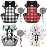 Weewooday 3 Pieces Puppy Harness and Leash Set No Pull Pet Harness with Leash Adjustable Mesh Dog Walking Harness with Cute Bows Plaid Pattern and Buttons for Small Dogs and Cats